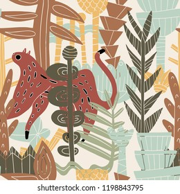 The seamless linocut technic colorful pattern with leopard in jungle. Hand drawn exotic illustration. Textile, blog decoration, banner, poster, wrapping paper.