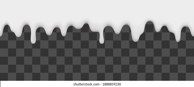Seamless liquid white cream melting and flowing down on transparent background. Vector illustration