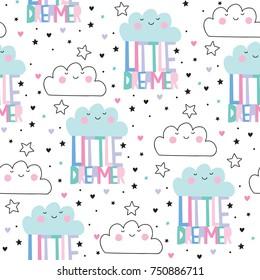 seamless little dreamer clouds pattern vector illustration