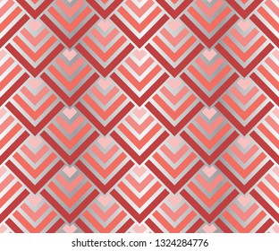 Seamless living coral gradient geometric squares pattern. Metallic silver art deco vector illustration