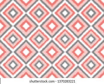 Seamless living coral and gray square ikat vector pattern