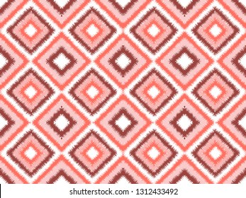 Seamless living coral square ikat vector pattern