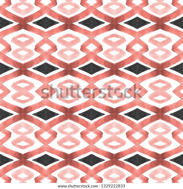 Seamless living coral watercolor geometric pattern