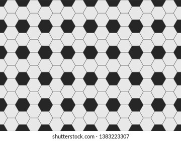 Seamless loopable texture of a soccer ball surface, black and white hexagons as a geometric background