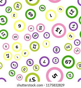 Seamless lotto pattern isolated on white background.Bingo