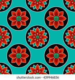 Seamless Lotus flower pattern. Buddhist Temple traditional ornament. Oriental pattern. Buddhism theme. Abstract colorful Background. Vector illustration.