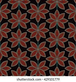 Seamless Lotus flower pattern. Dotted pattern. Oriental traditional ornament in Buddhist Temple colors. Floral background. Mosaic of dots. Vector Illustration.
