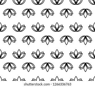 Seamless lotus vector black and white background. Geometric flower lotos yoga pattern