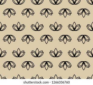 Seamless lotus vector on the beige background. Geometric flower lotos yoga pattern
