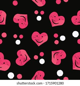 Seamless love pattern background smiling hearts and dots repeat endless cover texture for textile, wrapping paper, wallpapers, curtains, clothing, linens, fashion fabric prints