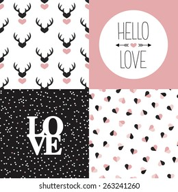 Seamless love pattern set and hello love and heart valentine and wedding invitation cover design in vector