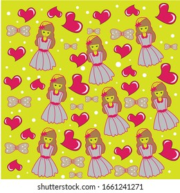 seamless love princess color vector design