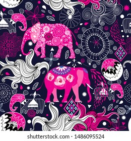 Seamless lovely pattern of elephants on a floral decorative background. Design template for wallpaper, poster or packaging.