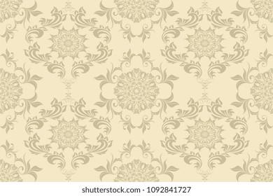 Seamless luxury decorative ornament on background. Luxurious floral ornament on background. Seamless wallpaper pattern. Trendy wallpaper pattern