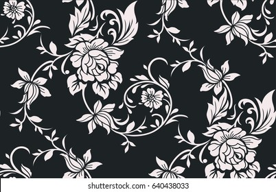 Seamless luxury pattern with flowers