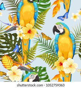 Seamless macaw and flowers