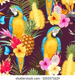 Seamless macaw, pineapple and flowers