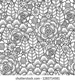 Seamless magic garden pattern in doodle style. Floral, ornate, decorative, tribal vector design elements. Black and white monochrome background. Flovers and leaves. Zentangle coloring book page