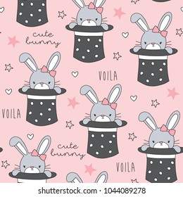 seamless magic hat with rabbit bunny pattern vector illustration