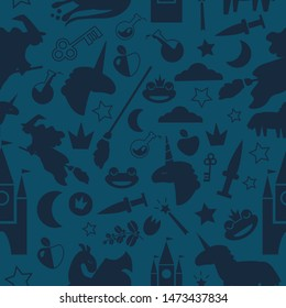 Seamless magic pattern on dark background with witch on broom, unicorn, enchanted frog, dragon, coins, poison bottle, crown, key, castle. Cool bicolor print for scrapbook, card,  wrapping paper.