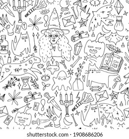seamless magical and mystical pattern with witches, horses, ghosts, doodle illustrations
