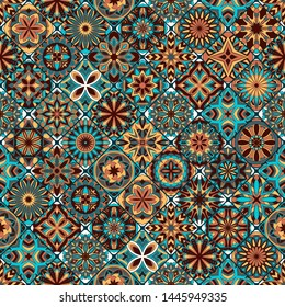Seamless mandala pattern. Vintage decorative elements. Islam, Arabic mandala, Indian, motifs.