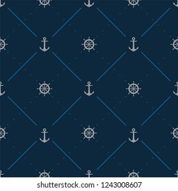 Seamless marine cloth line texture with rudder and anchor