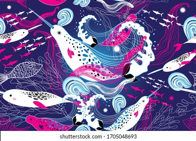 Seamless marine pattern with narwhal whales on a blue background with fish. Design template for fabric or Wallpaper.