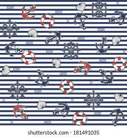 Seamless marine pattern on striped background. Vector illustration