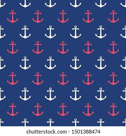 Seamless marine pattern with red and white anchors. Sea theme background