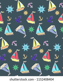 Seamless marine pattern with sailboats, anchors and wheels