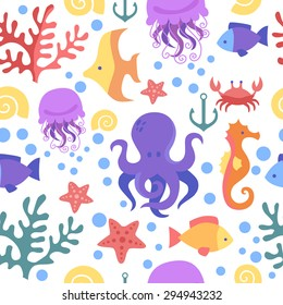 Seamless marine pattern. Sea, octopus, crab, corals, fish, anchor, starfish, seahorse. The underwater world.