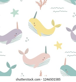 Seamless marine pattern with whales unicorns, starfish and corals. Vector illustration for printing on packaging paper, bed linen, children's clothing. Cute baby background.