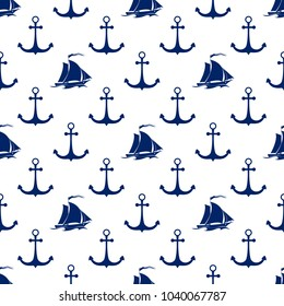 Seamless Maritime Pattern ,Blue Sailing Vessel and Anchor on a White Background, Travel and Tourism Concept , Vector Illustration