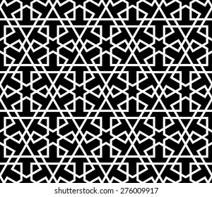 Seamless Mashrabiya Style Pattern in Black