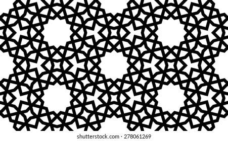 Seamless Mashrabiya Style Pattern in Black Lines