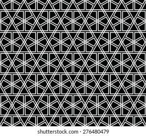 Seamless Mashrabiya Style Pattern in B/w