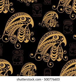 Seamless Maya art boho pattern with eagle. Ethnic print. Aztec background texture. Fabric, cloth design, wallpaper, wrapping, packaging. Vector illustration.
