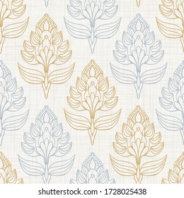 Seamless medallion pattern in french cream linen shabby chic style. Hand drawn floral damask texture. Old white blue background.  Interior wallpaper farmhouse swatch. Ornate flourish all over print