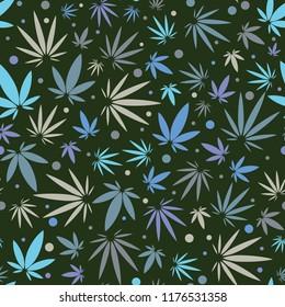 Seamless Medical Cannabis Marijuana Leaf Pattern Background
