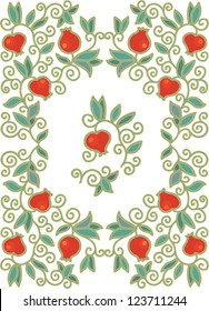 seamless medieval pomegranate pattern