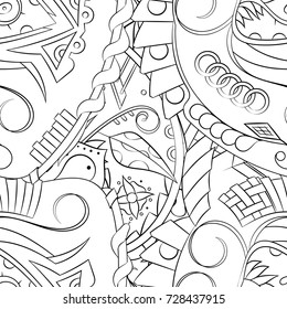 Seamless mehndi vector pattern. Hand-made illustration. Black and white binary pattern, monochrome doodle texture.