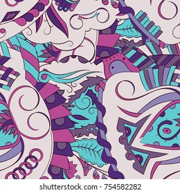 2003f06b1b Seamless mehndi vector pattern. Hand-made ethnic illustration. Colorful  doodle texture.