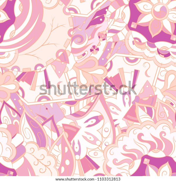 Seamless mehndi vector pattern. Hand-made ethnic illustration. Colorful doodle texture.