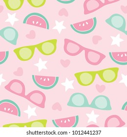 seamless melon fruits and sunglasses pattern vector illustration