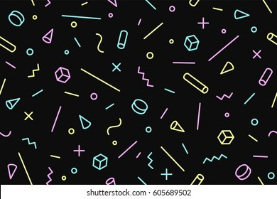 Seamless memphis graphic pattern 80s-90s trendy styles on black background. Colorful pattern with different shapes objects. Design for wrapping paper, fabric background, wallpaper. Vector illustration