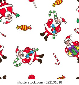 Seamless Merry Christmas pattern with a lot  joyful Santa Claus.