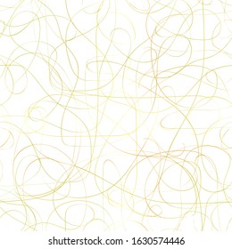 Seamless messy Golden pattern. Gold line with gradient bends and curls isolated on a white background. Vector abstract stock illustration with tangled brilliant stripe. Messy hand-drawn brush movement