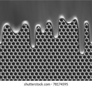 Seamless metallic liquid on grille texture