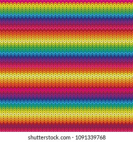 Seamless Mexican Knitted Rainbow Blanket Pattern